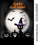 Happy Halloween. Spooky Black...