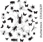 Vector Set Of Insect Silouette...