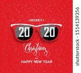 red hipster glasses on snowfall ... | Shutterstock .eps vector #1514139356