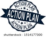 action plan stamp. blue round... | Shutterstock .eps vector #1514177300