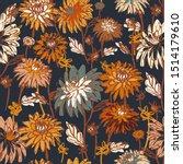 Dahlia And Chrysanthemums Bold...