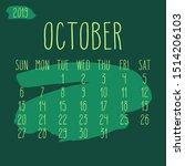 october year 2019 vector... | Shutterstock .eps vector #1514206103