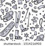 winter activity pattern. ski ... | Shutterstock .eps vector #1514216903