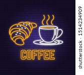 neon coffee and croissant retro ... | Shutterstock .eps vector #1514234909