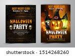 halloween party flyer set vector | Shutterstock .eps vector #1514268260