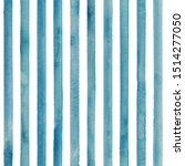 Watercolor Teal Blue Stripes O...