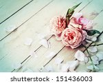 Stock photo beautiful roses on wooden background holidays romantic background 151436003