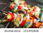 skewers with chiken and... | Shutterstock . vector #151442606