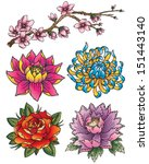 tattoo flower set | Shutterstock .eps vector #151443140