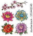 tattoo flower set | Shutterstock .eps vector #151443140