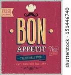 vintage bon appetit poster.... | Shutterstock .eps vector #151446740