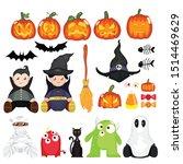 flat vector of halloween...   Shutterstock .eps vector #1514469629