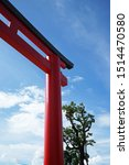 Stock photo traditional japanese shinto torii gate with cloudy blue sky the iconically japanese gateways that 1514470580