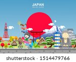 colorful japan travel poster  ... | Shutterstock .eps vector #1514479766