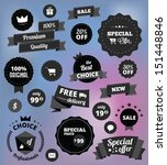 black and white vector stickers ... | Shutterstock .eps vector #151448846