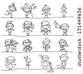 Hand Drawing Cartoon Happy Kid...