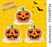 vector set of pumpkins emoji... | Shutterstock .eps vector #1514608736