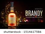 brandy bottle mockup banner.... | Shutterstock .eps vector #1514617586