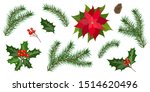 set with fir tree branches and... | Shutterstock .eps vector #1514620496