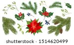 set with fir tree branches and... | Shutterstock .eps vector #1514620499
