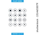 media player icons vector...