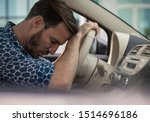 Sometimes you need to take a short break. Tired business man sleeping in car. - stock photo