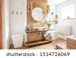White Sink On Wood Counter With ...