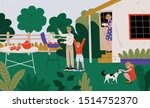 family on bbq party on the... | Shutterstock .eps vector #1514752370