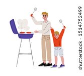 father and son grilling... | Shutterstock .eps vector #1514752499