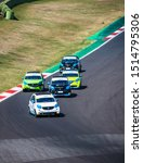 Small photo of Vallelunga, Italy september 14 2019. High angle view of asphalt circuit with Smart electric engine racing cars in group action and overtaking during the race