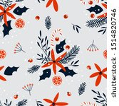 christmas and new year floral... | Shutterstock .eps vector #1514820746