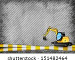 yellow tape and excavator on... | Shutterstock .eps vector #151482464