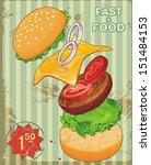retro design of fast food menu... | Shutterstock .eps vector #151484153