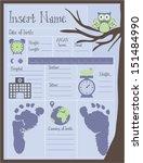 owl birth announcement blue | Shutterstock .eps vector #151484990