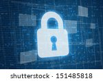 Closed lock on digital background, security concept  - stock photo
