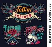 vintage tattoo salon colorful... | Shutterstock .eps vector #1514863733