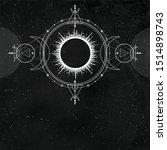 mystical drawing  sun  moon... | Shutterstock .eps vector #1514898743