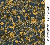 seamless bold sketchy dahlias... | Shutterstock .eps vector #1514986343