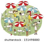 young people having fun in... | Shutterstock .eps vector #151498880