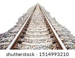 Rail Track And Rocks Isolated...