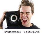 man listening to very loud... | Shutterstock . vector #151501646