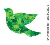 eco dove in green leaves vector illustration