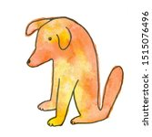 Stock photo  stylized watercolor dogs with beautiful tints of color hand drawn the dog is sitting 1515076496