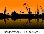 Working Cranes In Sea Port For...