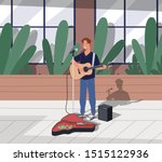 young happy male guitarist... | Shutterstock .eps vector #1515122936