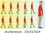 teen boy walking cycle | Shutterstock .eps vector #151517624
