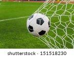soccer football in goal net...   Shutterstock . vector #151518230