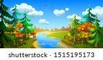 autumn forest with a river. fir ... | Shutterstock .eps vector #1515195173