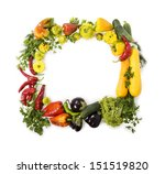 fresh vegetable frame on white | Shutterstock . vector #151519820