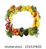 fresh vegetable frame on white | Shutterstock . vector #151519820